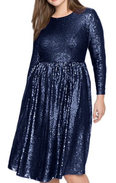 MACloth Long Sleeves Sequin Midi Cocktail Party Dress Dark Navy Formal Gown