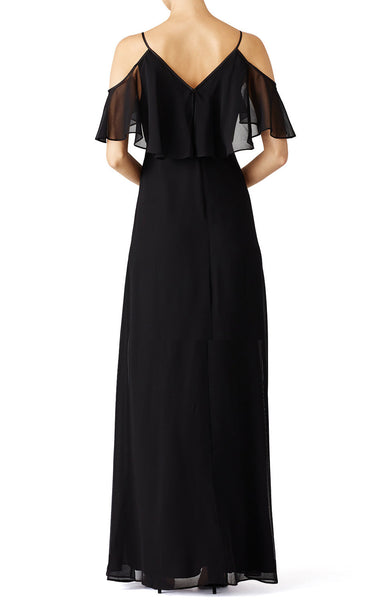 MACloth V Neck Off the Shoulder Chiffon Long Simple Prom Dress Black Formal Gown