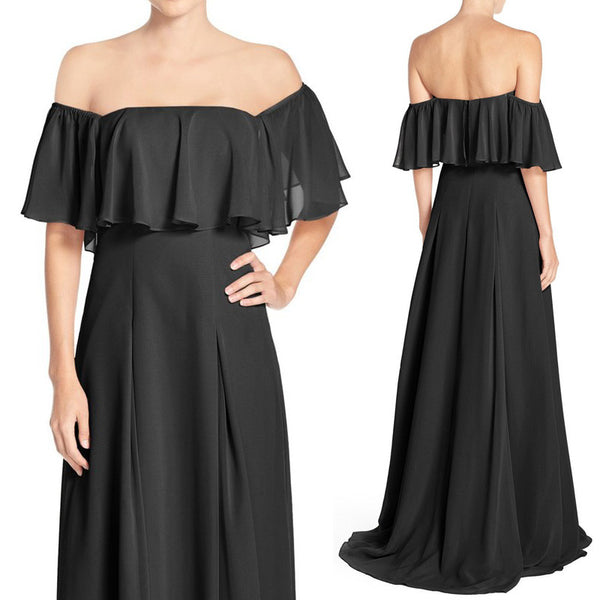 MACloth Off the Shoulder Chiffon Long Bridesmaid Dress Black Evening Formal Gown