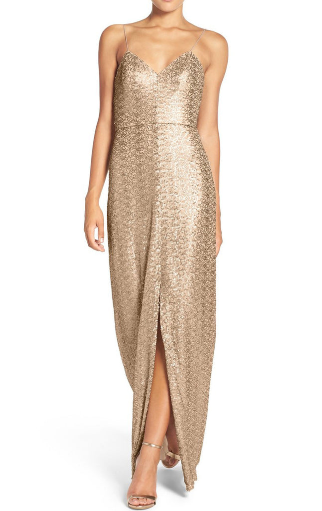 MACloth Straps V Neck Sequin Long Bridesmaid Dress Rose Gold Formal Gown