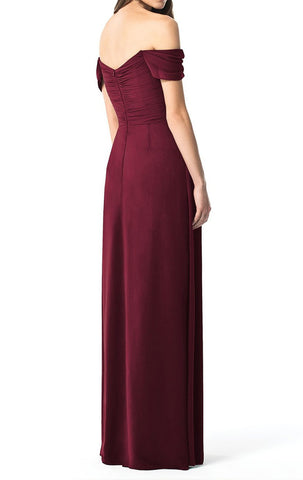 MACloth Off the Shoulder Chiffon Long Bridesmaid Dress Burgundy Simple Prom Gown