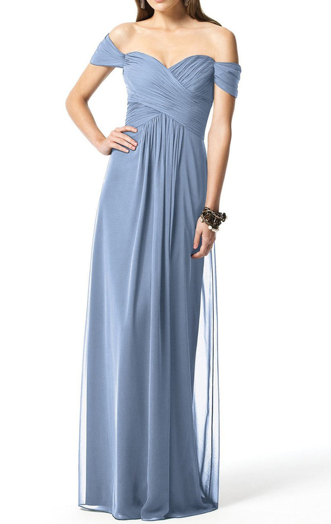 MACloth Women Strapless Chiffon Hi Lo Bridesmaid Dress Wedding Party Formal Gown (EU56, Teal)