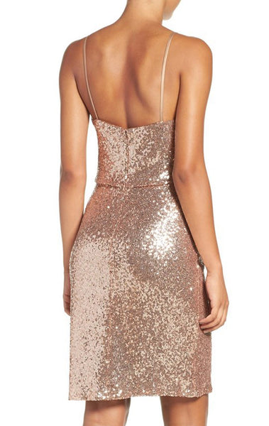 MACloth Spaghetti Straps Sequin Cocktail Dress Rose Gold Short Formal Gown