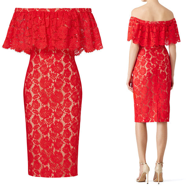 MACloth Off the Shoulder Lace Cocktail Dress Red Formal Evening Gown