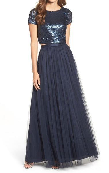 MACloth Two Piece Cap Sleeves Sequin Tulle Long Bridesmaid Dress Dark Navy Formal Gown