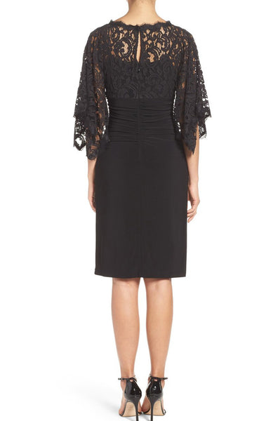 MACloth Half Sleeves Lace Jersey Cocktail Dress Black Formal Gown