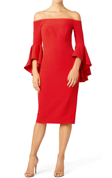 MACloth Off the Shoulder Midi Red Cocktail Dress Jersey  Formal Gown