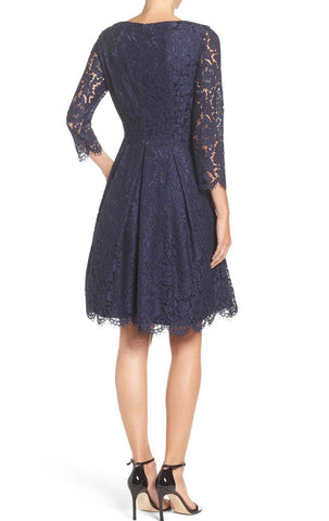 MACloth Half Sleeves V Neck Lace Dark Navy Cocktail Dress