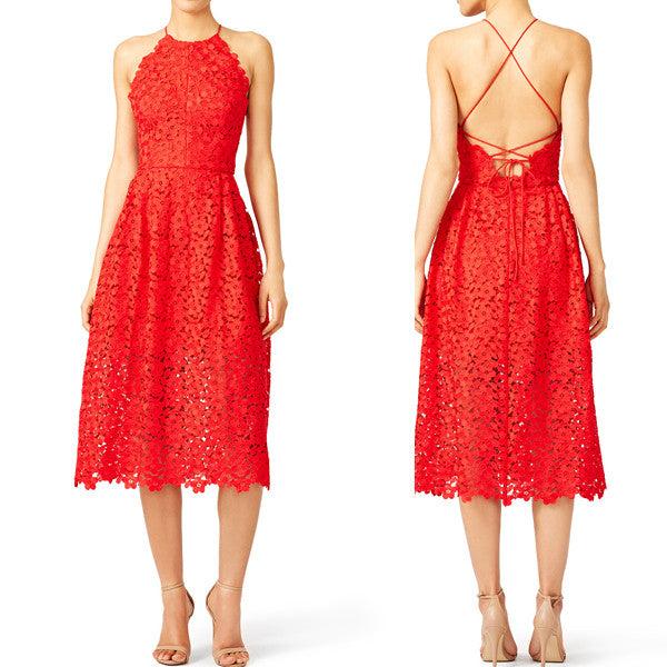 MACloth Straps V neck Lace Tea Length Cocktail Dress Red Formal Gown