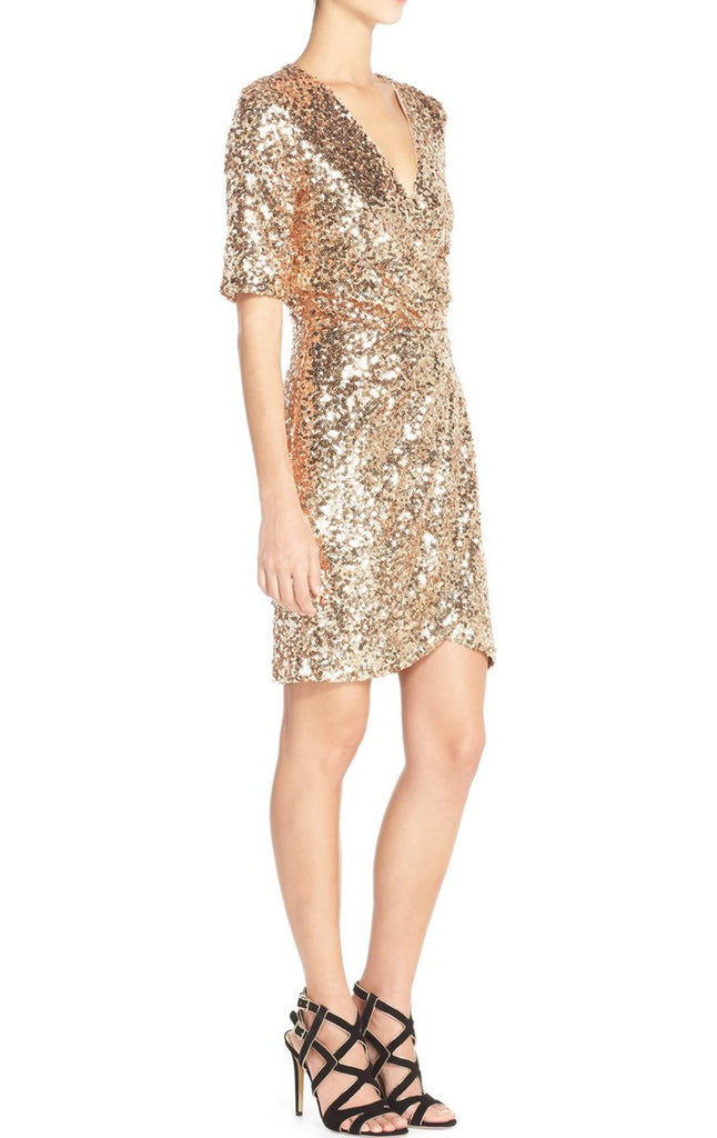 MACloth Short Sleeves V Neck Sequin Rose Gold Cocktail Dress Wedding P