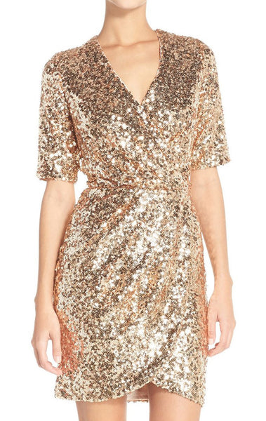 MACloth Short Sleeves V Neck Sequin Rose Gold Cocktail Dress Wedding Party Formal Gown
