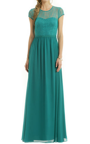 MACloth Cap Sleeves Lace Chiffon Long Evening Gown Turquoise Mother of the Brides Dress