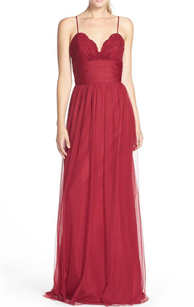 MACloth Straps V Neck Lace Tulle Long Bridesmaid Dress Red Formal Gown