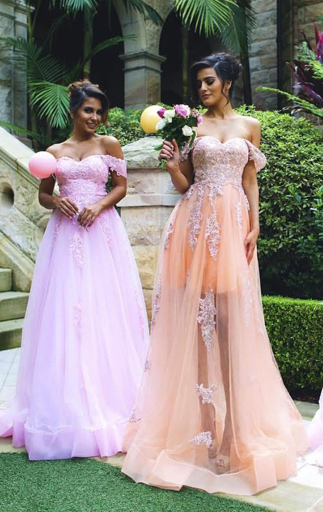 MACloth Off the shoulder Lace Tulle Prom Dress Sweetheart Formal Gown