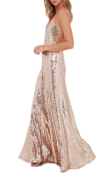 MACloth Spaghetti Straps V Neck Sequin Formal Dress Rose Gold Bridesmaid Dress