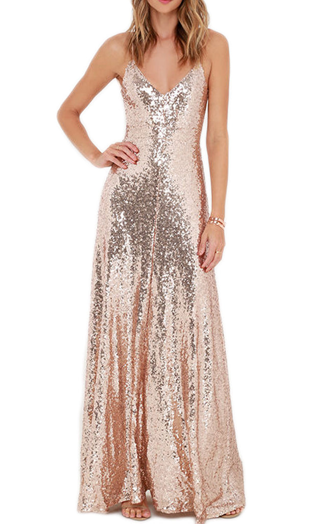 Macloth spaghetti straps v neck sequin formal dress rose gold bridesma macloth spaghetti straps v neck sequin formal dress rose gold bridesmaid dress junglespirit Image collections