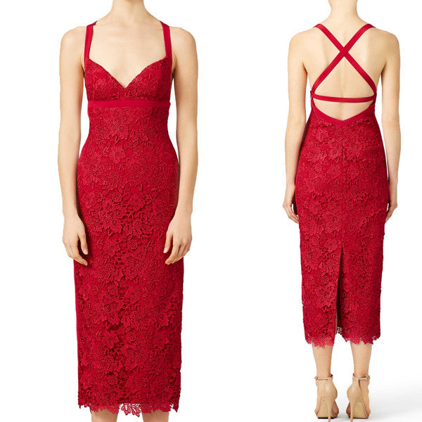 MACloth Straps Sexy Red Lace Cocktail Dress Midi Formal Gown