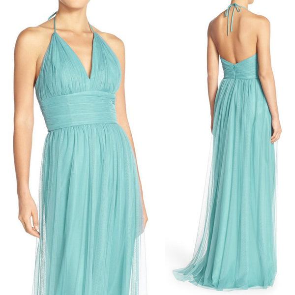 MACloth Halter V Neck Tulle Long Prom Dress Turquoise Formal Evening Gown