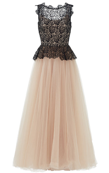 MACloth O Neck Lace Tulle Long Prom Dress Champagne Black Ball Gown