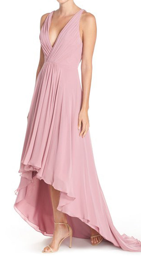 MACloth Deep V Neck Chiffon High Low Formal Gown Pearl Pink Prom Dress