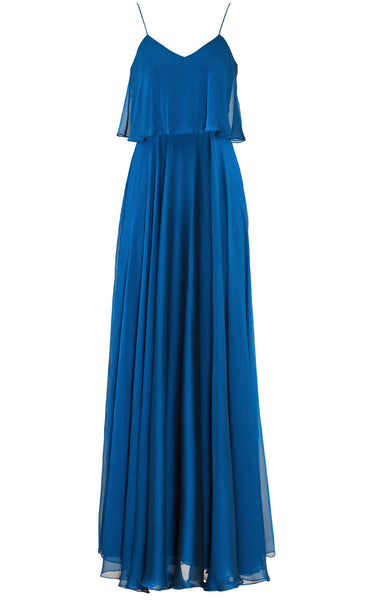 MACloth Spaghetti Straps Tiered Chiffon Long Bridesmaid Dress Simple Prom Gown