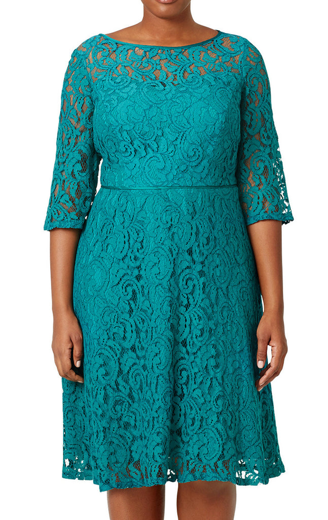 MACloth Half Sleeves Lace Turquoise Plus Size Cocktail Dress Midi Formal Gown