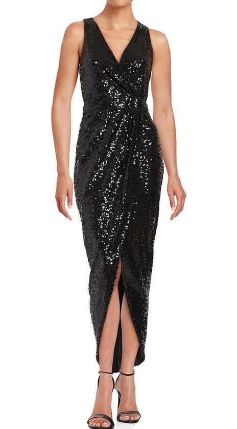 MACloth Straps V Neck Hi-Lo Bridesmaid Dress Sequin Black Evening Formal Gown