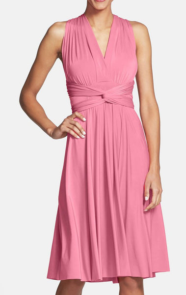 MACloth Convertible Wrap Tie Jersey Short Bridesmaid Dress Cocktail Formal Gown
