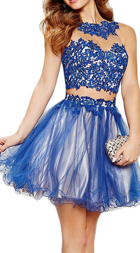 MACloth Straps Mini Prom Homecoming Dress Royal Blue Lace Formal Gown