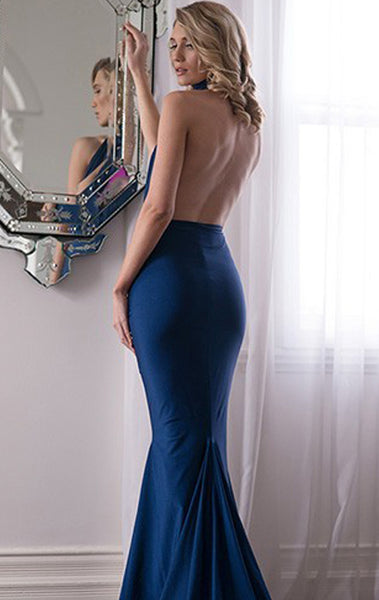 MACloth Mermaid High Neck Jersey Prom Dress with Open Back Sexy Formal Gown