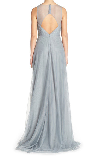 MACLoth Straps V Neck Tulle Long Bridesmaid Dress Simple Silver Prom Gown