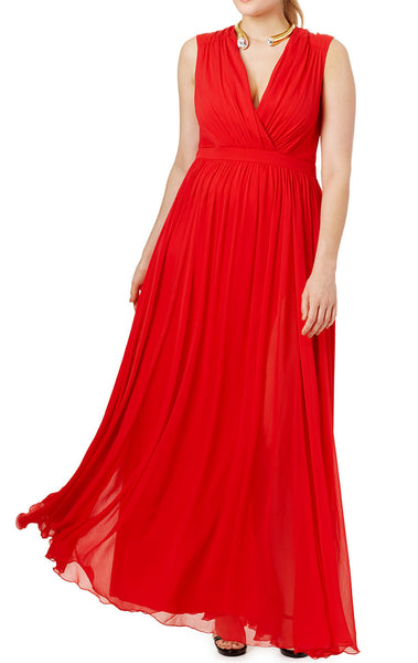 MACloth V Neck Red Chiffon Long Prom Dress Plus Size Formal Gown