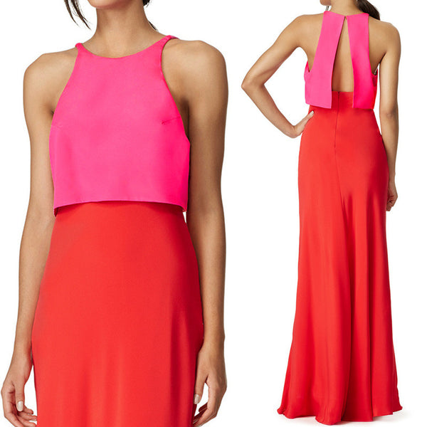 MACloth Two Piece Jersey Long Simple Prom Dress Red Fuchsia Formal Gown