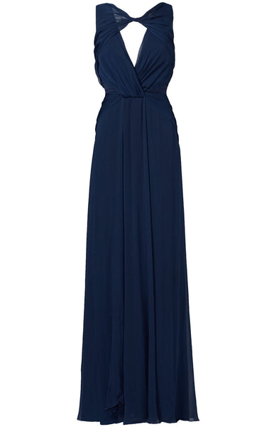 MACloth Straps O Neck Chiffon Formal Gown Simple Prom Dress with Open Back