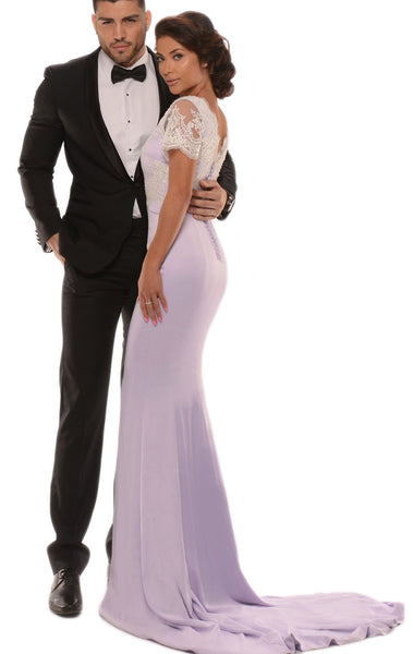 MACloth Mermaid Cap Sleeves Lace Jersey Lavender Prom Dress Sexy Formal Gown
