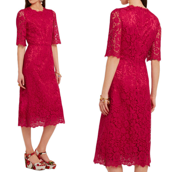 MACloth Half Sleeves Midi Cocktail Dress Luxury Lace Red Dress