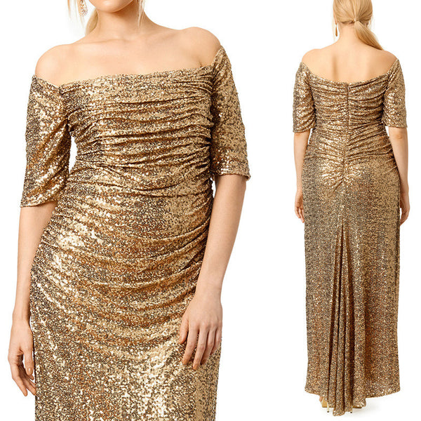 MACloth Off the Shoulder Sheath Sequin Gold Formal Gown Long Prom Dress