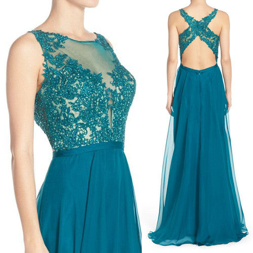 MACloth Straps Lace Long Prom Dress Chiffon Turquoise Formal Evening Gown