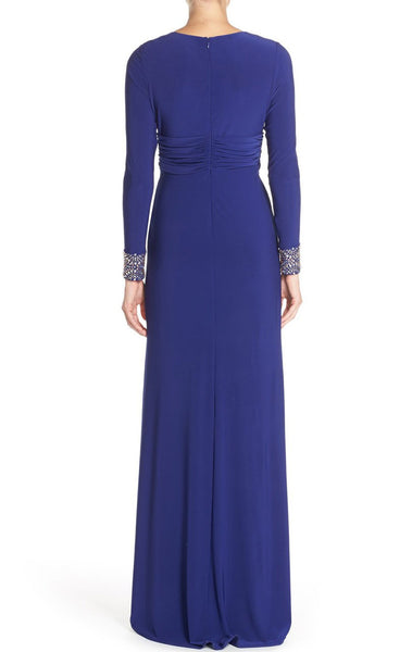 MACloth Long Sleeves Mother of the Brides Dress Royal Blue Jersey Formal Evening Gown