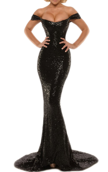 MACloth Mermaid Off the Shoulder Sequin Long Prom Dress with Court Train