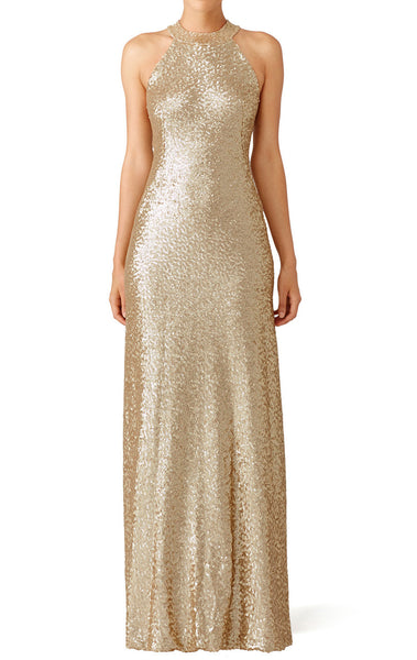MACloth High Neck Sequin Evening Formal Gown Champagne Bridesmaid Dress