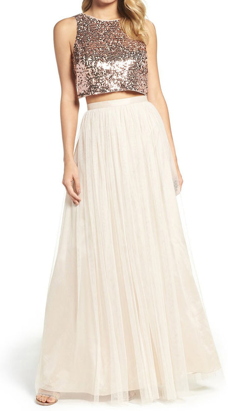 MACloth Two Piece Sequin Bridesmaid Dress Rose Gold Prom Formal Gown