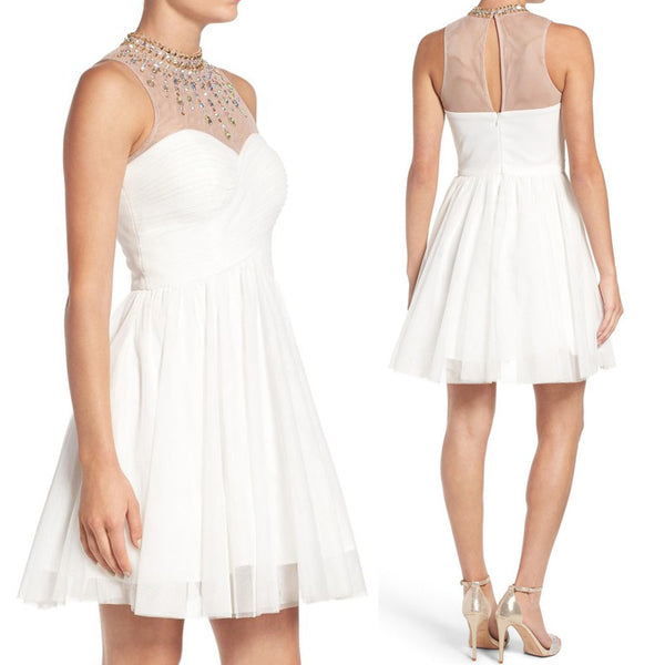 MACloth High Neck Crystal Tulle Short Prom Dress Ivory Cocktail Formal Gown