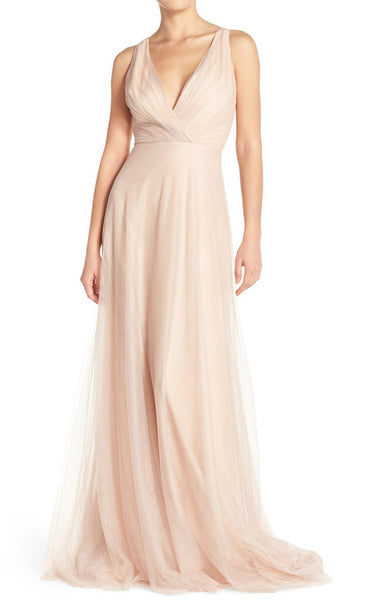 MACloth A Line V Neck Tulle Long Bridesmaid Dress Simple Prom Gown