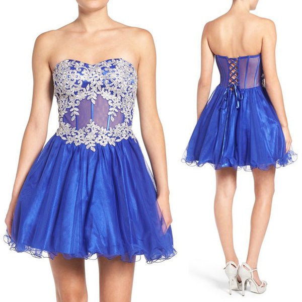 MACloth Strapless Sweetheart Tulle Mini Prom Dress Royal Blue Party Formal Gown