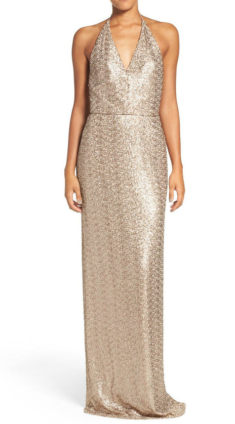 MACloth Halter V Neck Sequin Long Bridesmaid Dress Champagne Formal Gown