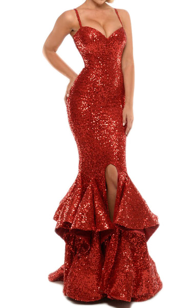 MACloth Mermaid Sexy Sequin Long Prom Dress with Tiered Sweep Train