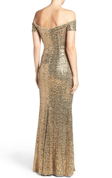 MACloth Off the Shoulder Sequin Prom Dress Gold Formal Evening Gown