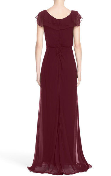 MACloth Straps V Neck Simple Prom Dress Burgundy Formal Evening Gown