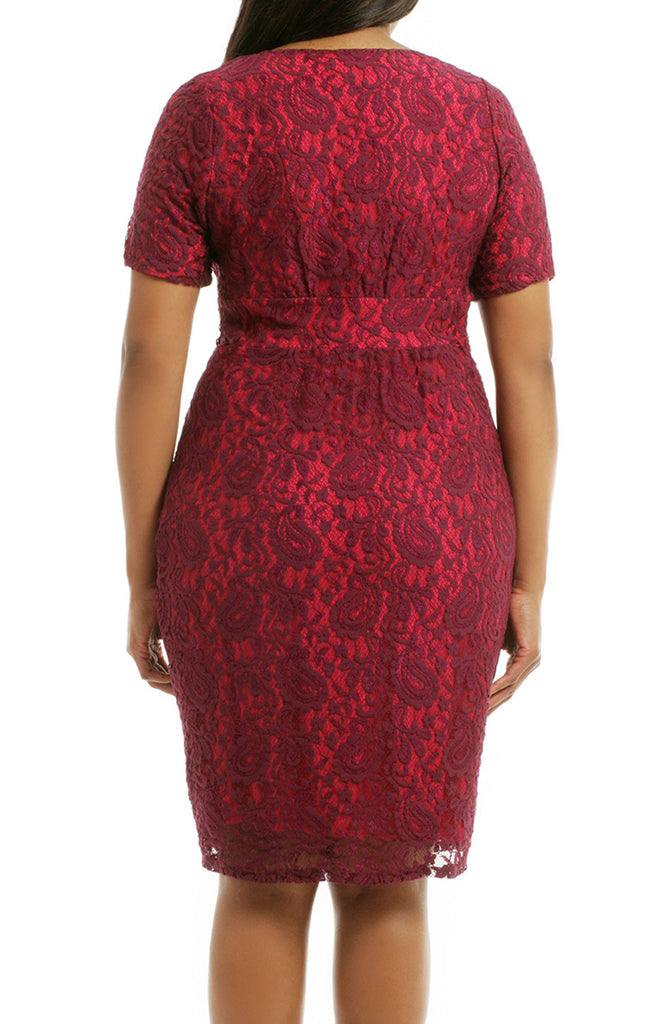 827c613939d ... MACloth Short Sleeves Lace Midi Cocktail Dress Burgundy Plus Size  Formal Gown ...